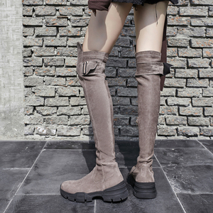Image 5 - 2020 superstar buty zimowe platforma kid suede zipper wedge over the buty do kolan kobiety klamra biuro lady zakolanówki buty L04