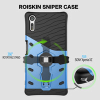 For Sony XZ Cover Shockproof Armor Hybird Silicone Rubber Case 360 Degree Rotation Kickstand Phone Case