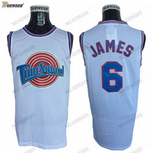 97c53c5aebe8d0 DUEWEER Mens Hot Moive Tune Squad Space Jam Basketball Jersey  6 LeBron  James Stitched Basketball Shirts White S-XXL