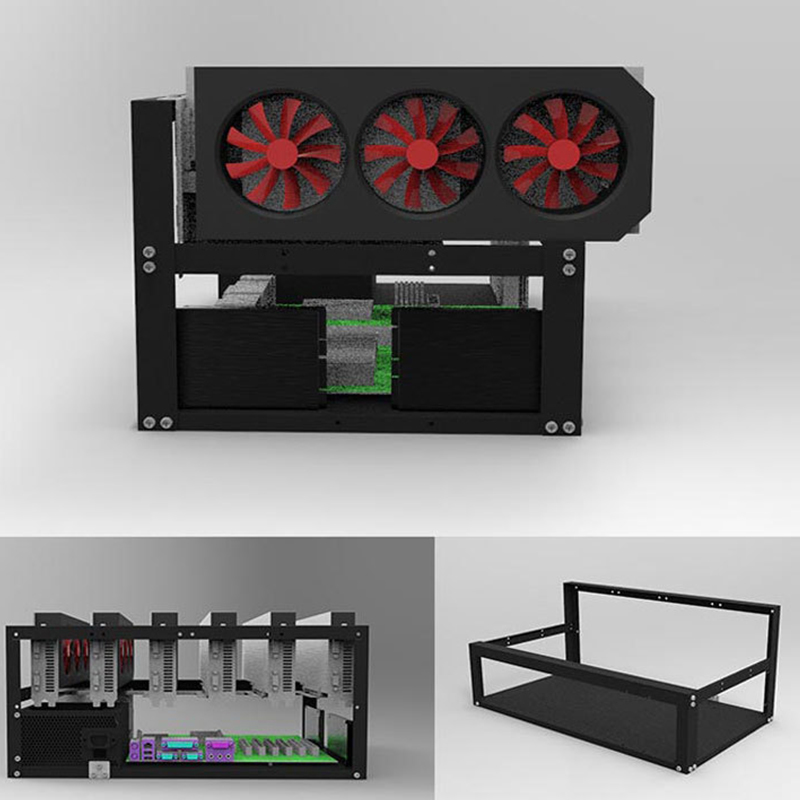 Steel Coin Open Air Miner Mining Frame Rig Case Up to 6 GPU BTC LTC ETH Ethereum XXM8
