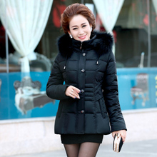 Nice New Cotton Padded Down Women's Winter Jacket  Middle-aged Woman Women Wear Thick Warm Coat Fur Collar Hood Parka AW1118