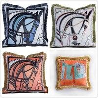Luxury Velvet Horse Tassel Cushion Cover Soft Printed 45x45cm Pillow Cover Pillowcase Home Decorative Sofa Throw Pillows Chair