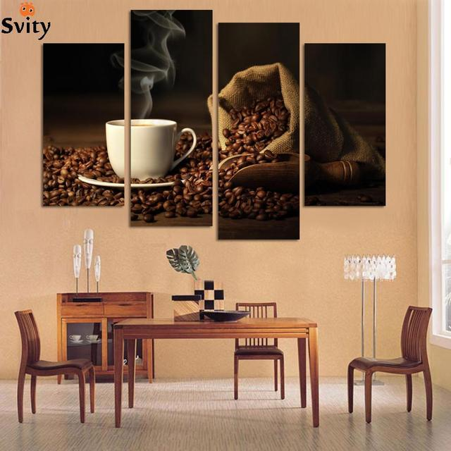 Attirant 4 Panels Modern Printed Coffee Canvas Art Painting Picture Cuadros Kitchen  Home Decor Wall Art For