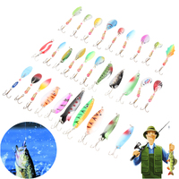 30pcs Lot Fishing Lure Accessories Minnow Spinner Spoon Metal Artificial Colorful Spinner Baits Fish Hooks