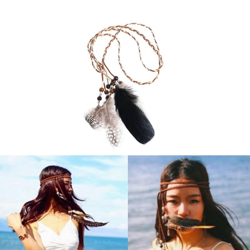Boho Indian Feather Headband Headdress Hair Rope Headwear Tribal Hippie Party Drop ship