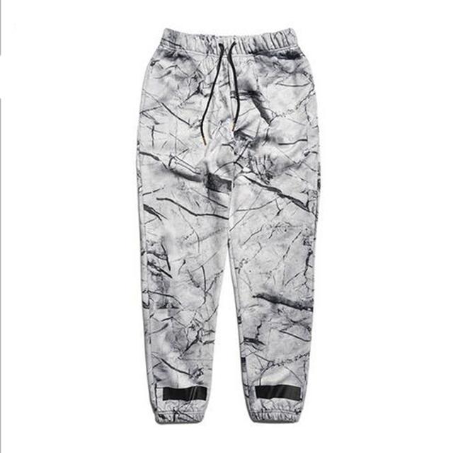 Calças de algodão casuais calças soltas lazer calças sweatpants calças calças corredores homens novo estilo de moda padrão de impressão de mármore