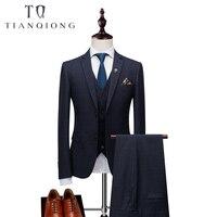 Бренд Для мужчин s костюм формальный мужской костюм комплект из 3 предметов в клетку костюмы жениха Нарядные Костюмы для свадьбы для Для муж