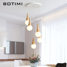 BOTIMI Modern LED Pendant Lights With Glass Lampshade For Dining Room Wooden Lamp Round Suspension Restaurant Lighting