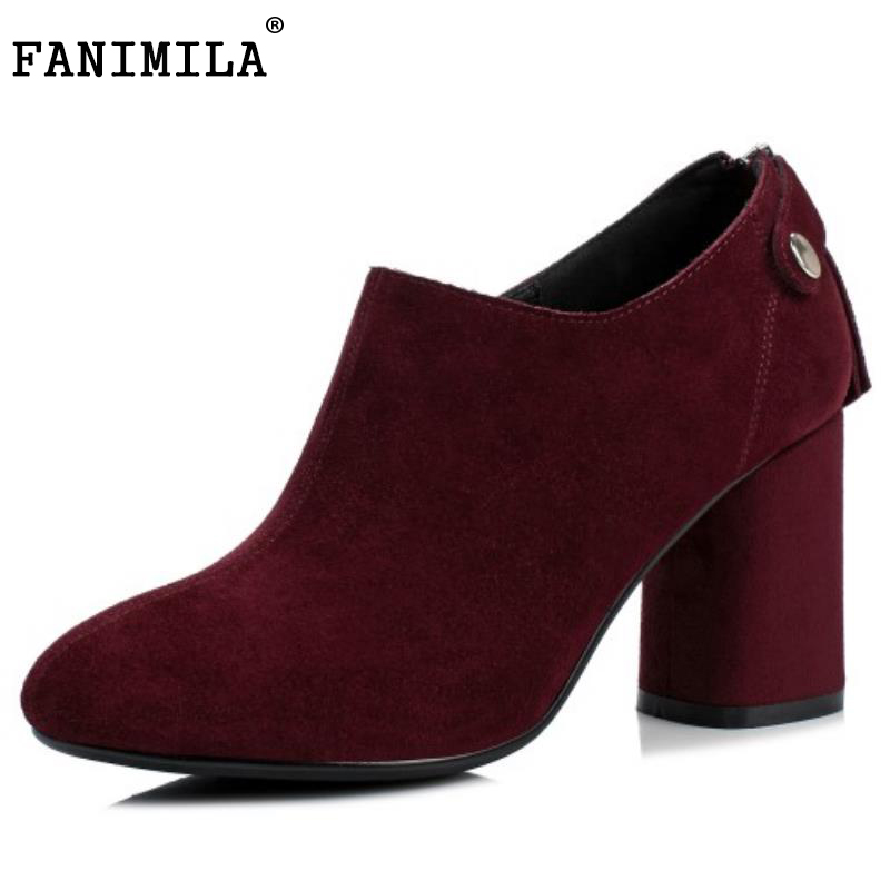 FANIMILA  Female Real Leather High Heel Pumps Round Toe Shoes Women Sexy Office Wedding Concise Ladies Footwear Size 33-42 ladies real leather pumps shoes women pointed toe cross strap gladiator shoes fiork nude color sexy female footwear size 34 40