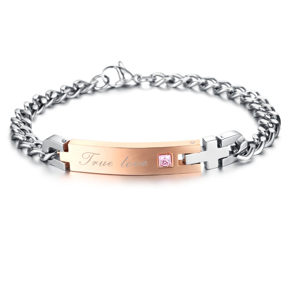 Stainless Steel True Love Couple Bracelet & Bangle with Blue / Pink Crystal Chain 4