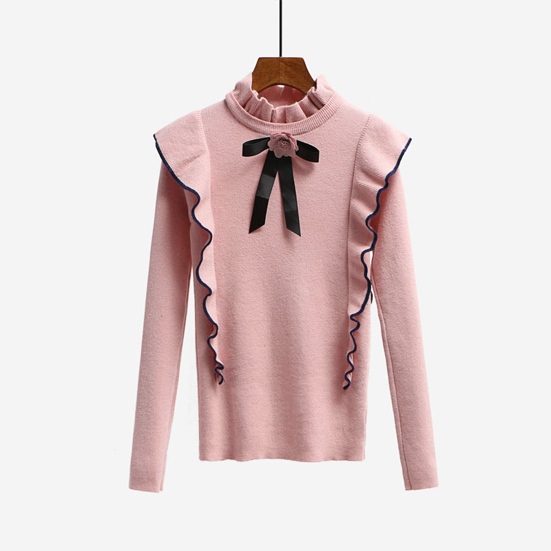 2017 New Autumn Runway Designer Women Sweater Pullover Tops Sweet Bow Ruffles Turtleneck Knit Basic Knitted Sweaters Pullovers