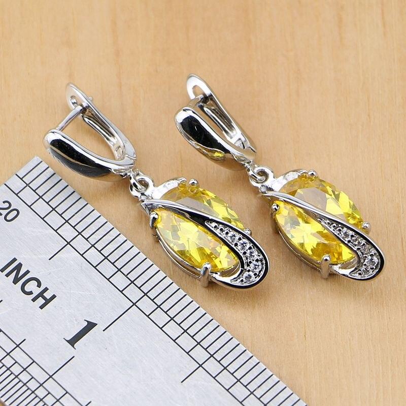Trendy 925 sterling sølv brude smykker gule cubic zirconia smykker - Mode smykker - Foto 4