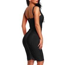 Deep V Backless Strap Knee Length Bandage Dress