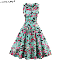 HimanJie Plus Size 4XL Women Retro Dress 50s 60s Vintage Rockabilly Swing Feminino Vestidos Print Pattern