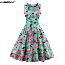 HimanJie Plus Size 4XL Women Retro Dress 50s 60s Vintage Rockabilly Swing Feminino Vestidos flamingo Pattern 2017 Party Dresses