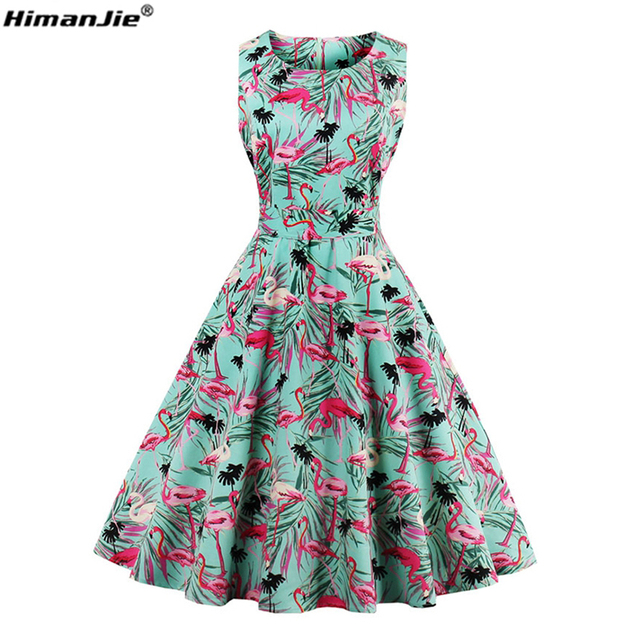 Himanjie Plus Size 4xl Women Retro Dress 50s 60s Vintage Rockabilly
