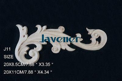J11- 20x9cm Wood Carved Corner Onlay Applique Unpainted Frame Door Decal Working Carpenter Decoration