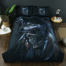 Bed Home Textiles Suite Quilt Cover Human Skeleton Head Printing Suite Human Skeleton Wolf Three Paper Set цена 2017