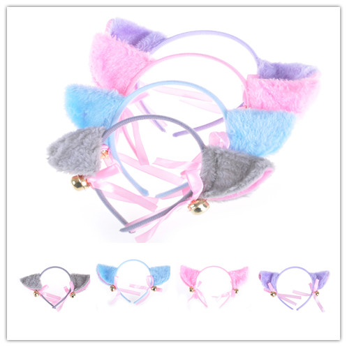 Kawaii Cat Ears Bell Bowknot Head Hoop Headdress Cosplay Anime Costume Party Decor Headwear Hairpinn Toy Gift