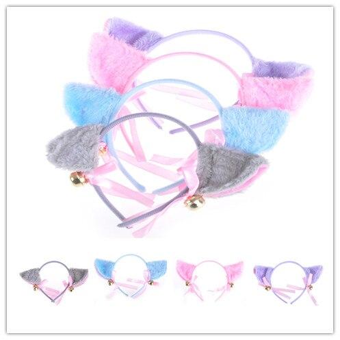 Kawaii Cat Ears Bell Bowknot Head Hoop Headdress Cosplay Anime Costume Party Decor Headwear Hairpinn Toy Gift