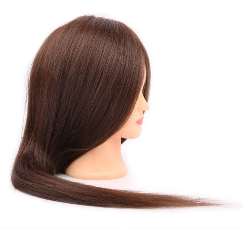 Salon Mannequin Head With Human Hair 55cm Long 100% Real Hair Hairdressing Doll Heads Practice Training Model Styling Tools