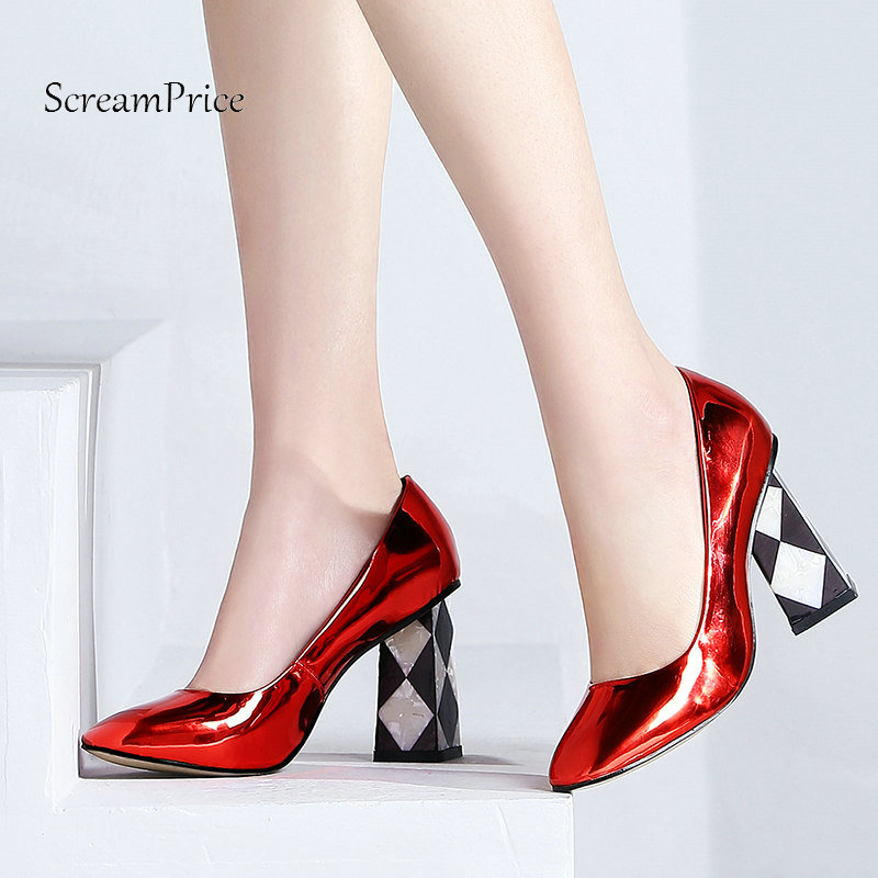 The New Patent Leather Square High Heel Woman Lazy Pumps Fashion Square Toe Party High Heel Shoes Woman Black Red Purple women s high heels women pumps sexy bride party square heel square toe rivets high heel shoes