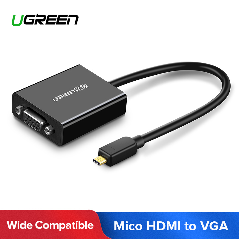 Adaptador de vídeo Ugreen Active Micro HDMI a VGA con Audio de 3,5mm y alimentación Micro-USB para tabletas Ultrabooks Smartphones cámaras