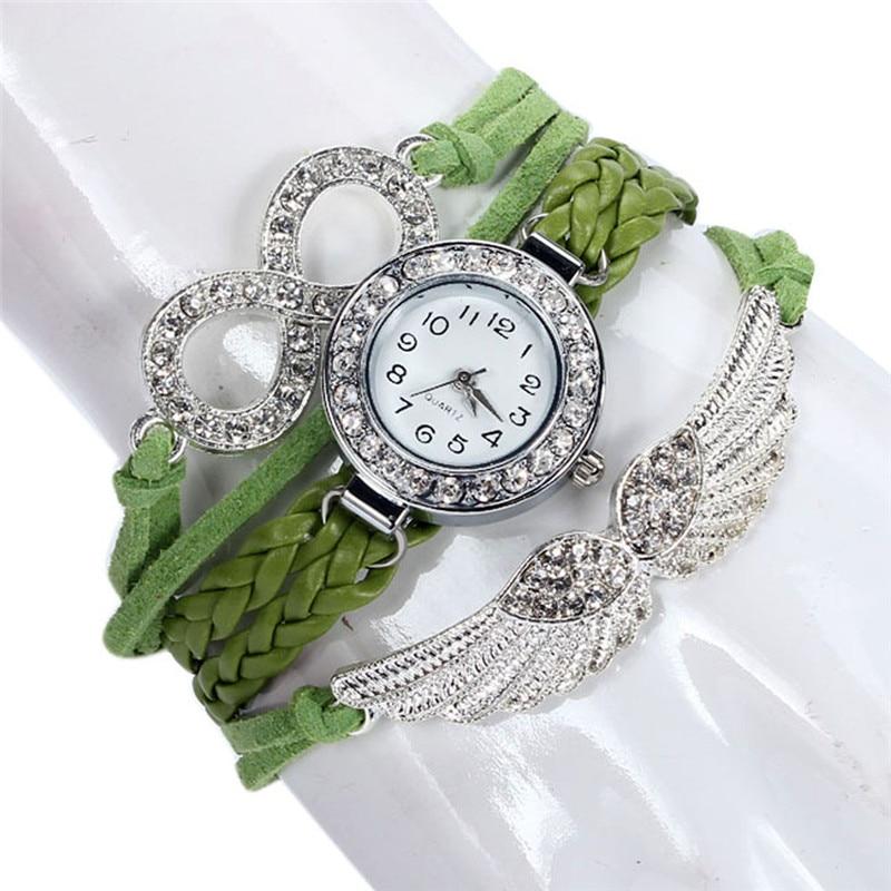 2017 Relogio Feminino erkek kol saati Womens Bracelet Weave Wrap Quartz Leather Angel Wings Wrist Watches