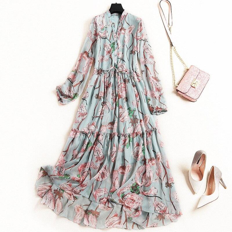 Nouveauté printemps robe femmes 2019 créateur de mode à manches longues élégant imprimé Floral mi-mollet en mousseline de soie robe décontracté Vestidos