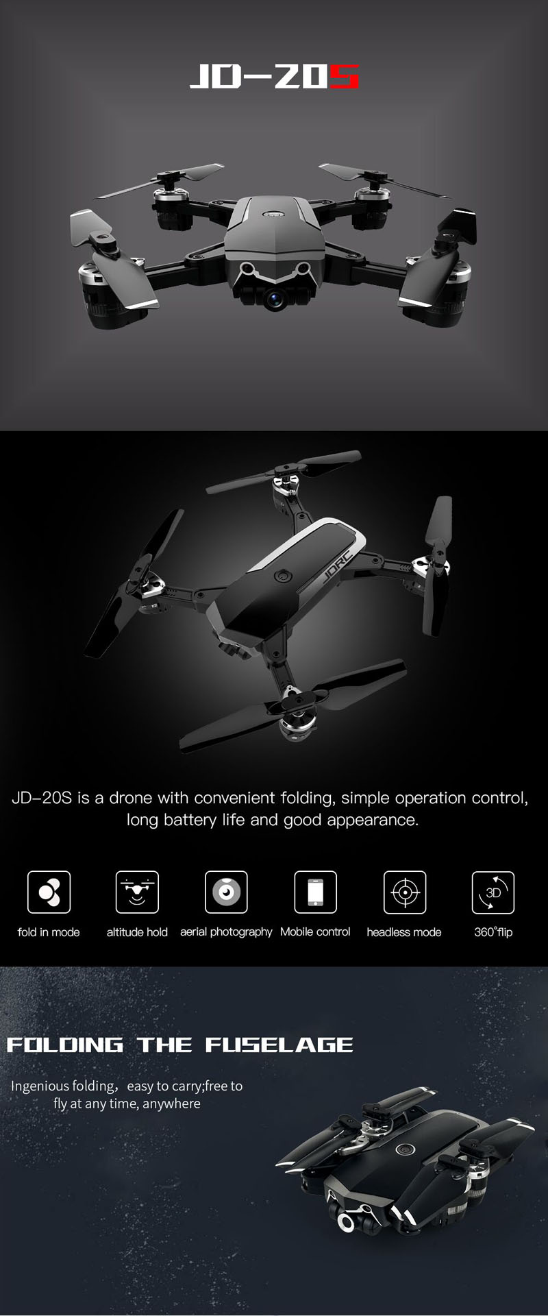 Eachine WiFi FPV Foldable RC Drone with 2MP HD Camera 7