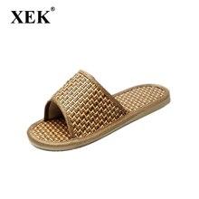 XEK/мужские летние тапочки; модные домашние крутые тапочки для мужчин и влюбленных из ротанга и бамбука; сандалии; ST266