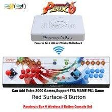8 Кнопка Pandora box 6 1300 в 1 беспроводной Утюг консоли комплект 2 игроков Аркада поддержка контроллера ФБА mame ps1 3d можно добавить 3000 игры