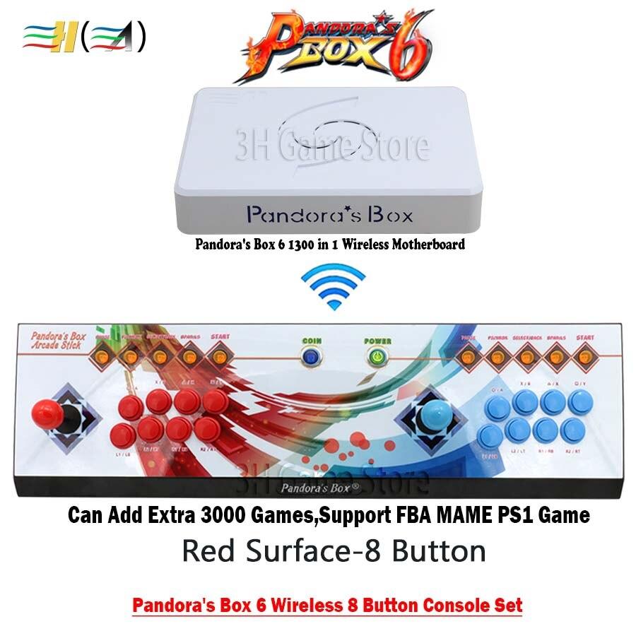 8 pulsante Pandora box 6 1300 in 1 senza fili di ferro set console 2 Giocatori arcade controller supporto fba mame ps1 3d può aggiungere 3000 gioco