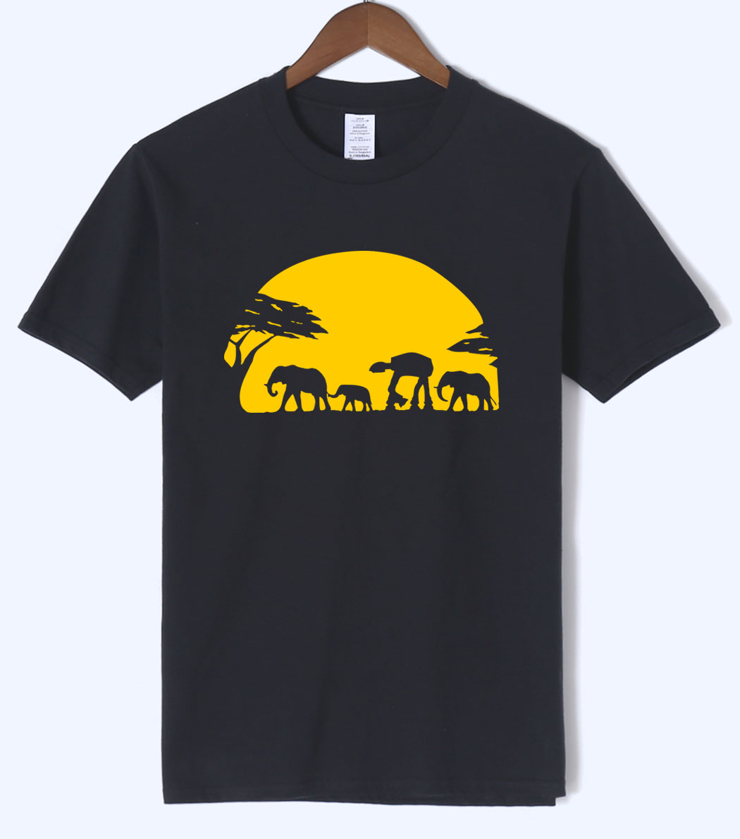 Hot Sale Elephants And Imperial Walker Across African Safari T Shirts 2018 Summer Men T Shirts 100% Cotton Short Sleeve T-Shirts