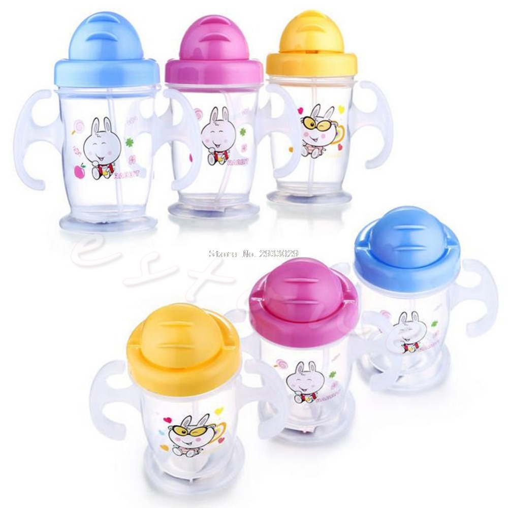 Durable Children Baby Straw Cup Drink Bottles Sippy Cups Handles Cute 200ML New -B116
