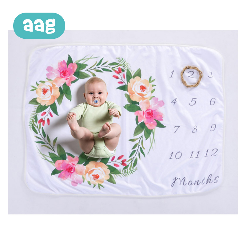 AAG Baby Blanket Newborn Monthly Milestone Anniversary Blankets Infant Photography Prop Accessories Stroller Baby Decor Blanket