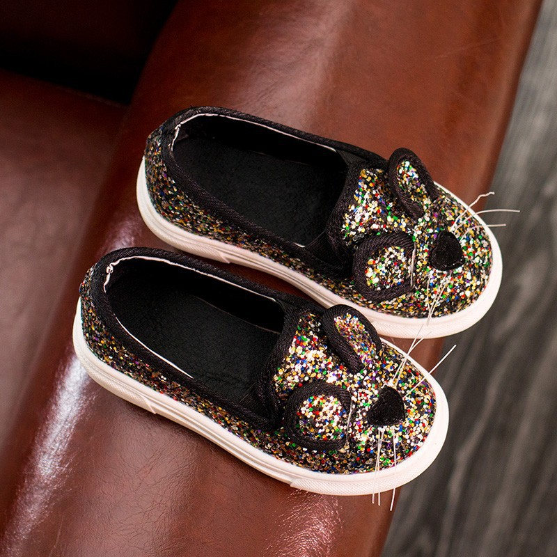 ULKNN Toddle Girls Shoes Kids 2018 Spring Boys Cartoon Cat Casual Shoes Children Paillette Flat Shoe School Princess Pink Shoe