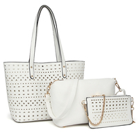 Women Pierced Bag Vintage Messenger Bags Shoulder Handbag Women Top Handle Composite Bag Purse Wallet Female PU Leather Bag