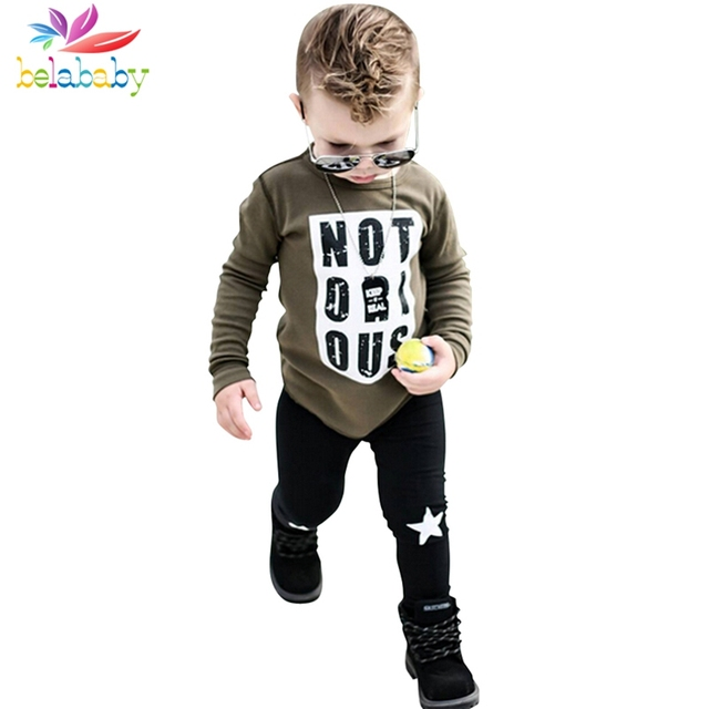 Belababy Boys Clothing Sets Spring Autumn Fashion Children Letters Print Boys Long Sleeve T-shirt+Star Pant Kids Clothes Set