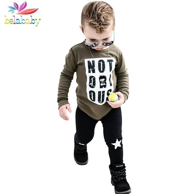 Belababy Boys Clothing Sets Spring Autumn Fashion Children Letters Print Boys Long Sleeve T-shirt+Star Pant Kids Clothes Set