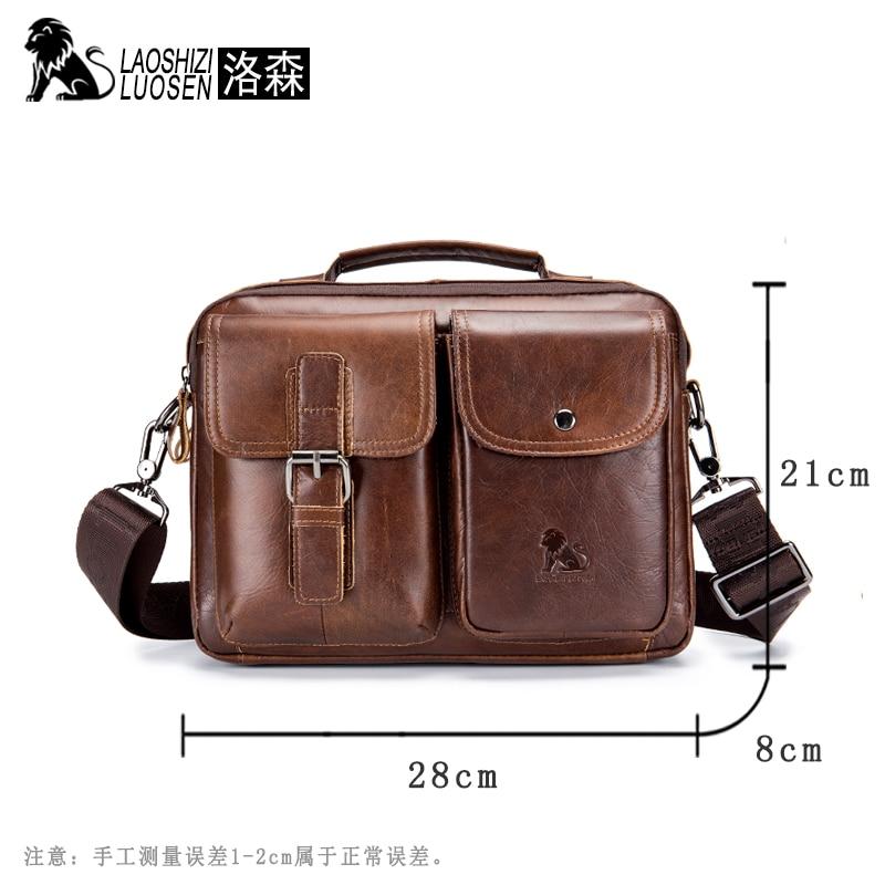 Image 4 - LAOSHIZI Genuine Leather Briefcase Men  Shoulder Bag Soft Cowhide Messenger Bag Vintage Male Handbags Business Tote-in Laptop Bags & Cases from Computer & Office