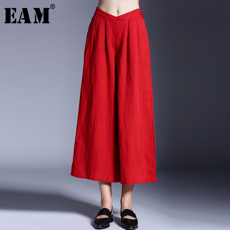 [EAM] 2018 New Summer Fashion Tide Red Elastic Waist Loose Casual Wide Leg Pants Simple All-match Woman Pants S905 new summer japanese sen female line all match foundation elastic waist denim jeans wide leg pants