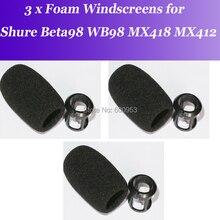 3 Unit Snap fit Foam Windscreens for Shure Beta98 MX412 MX418 WB98 Microphone Mic Free Ship