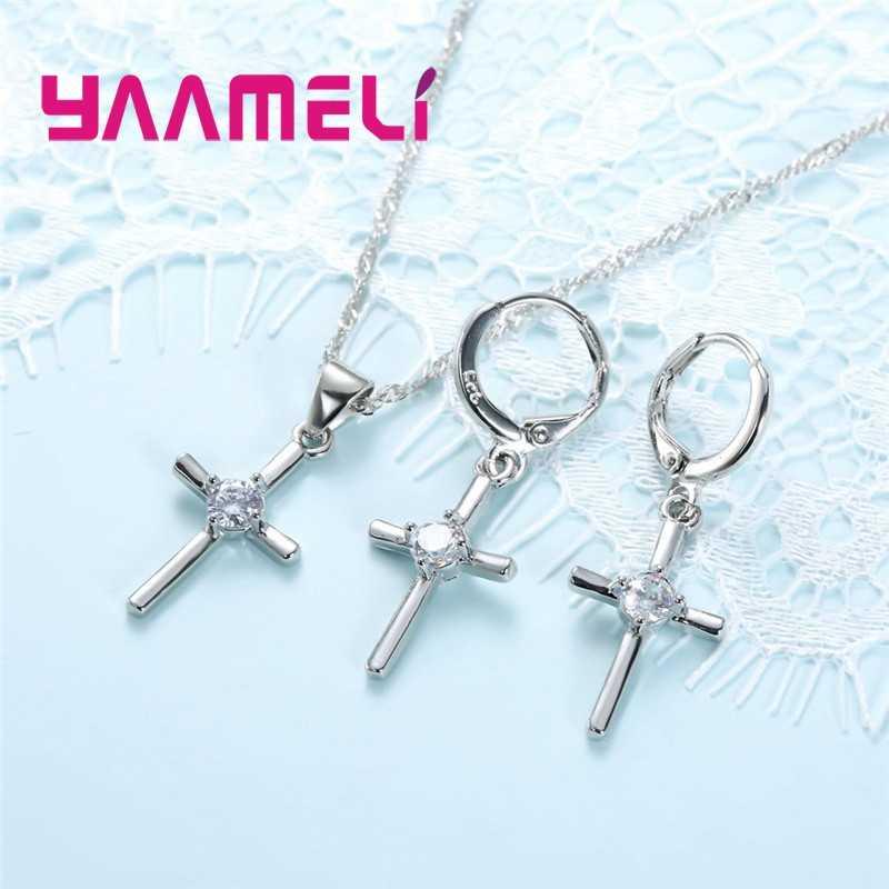 Einfache Fein 925 Sterling Silber Schmuck Sets Kreuz mit Klar Cubic Zirkon Gepflastert Charms Halskette Hoop Ohrringe für Frauen Mädchen