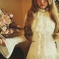S-XL Женщин Лолита Блузка Империя Royal Style Рубашка Bodyline Тонкий кружева Лук Шифон Полный Рукав Белый Черный Футболки Женский Плюс размер
