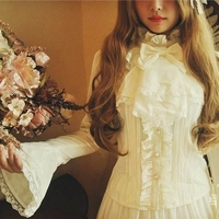 S-XL Mulheres Camisa Estilo Lolita Blusa Império Real Bodyline Magro Rendas Arco Chiffon Camisas Completo Manga Branco Preto Fêmea Do Vintage