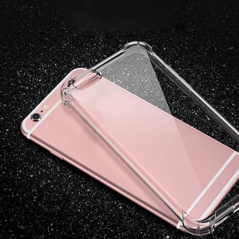حقيبة لهاتف أي فون X XS ماكس XR شفافة سيليكون TPU واضح مكافحة صدمة Fundas غطاء ل أبل فون 8 7 6 ثانية 6 زائد 5 ثانية 5 SE حالة