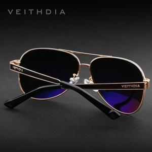 Image 5 - VEITHDIA lunettes de soleil pour hommes, verres en acier inoxydable, lentille verte polarisée, accessoires lunettes, 3152