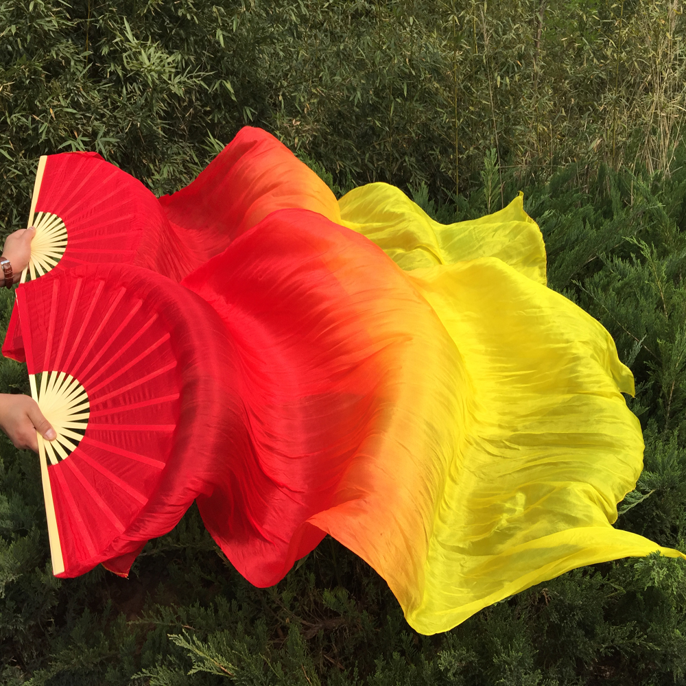 1 pair100%Real silk belly dance fan veil 1.8m Red+Yellow 2(Left+Right)