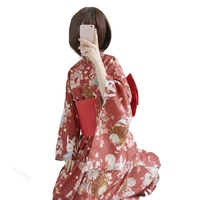 Women Cute Japanese Kimono Traditional Costume Female Dress Cosplay Ladies Yukata Costume